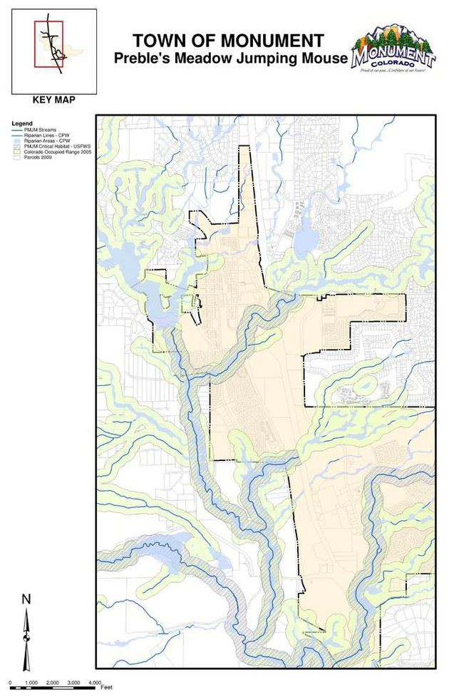 Detailed map of Preble Meadow Jumping Mouse habitat