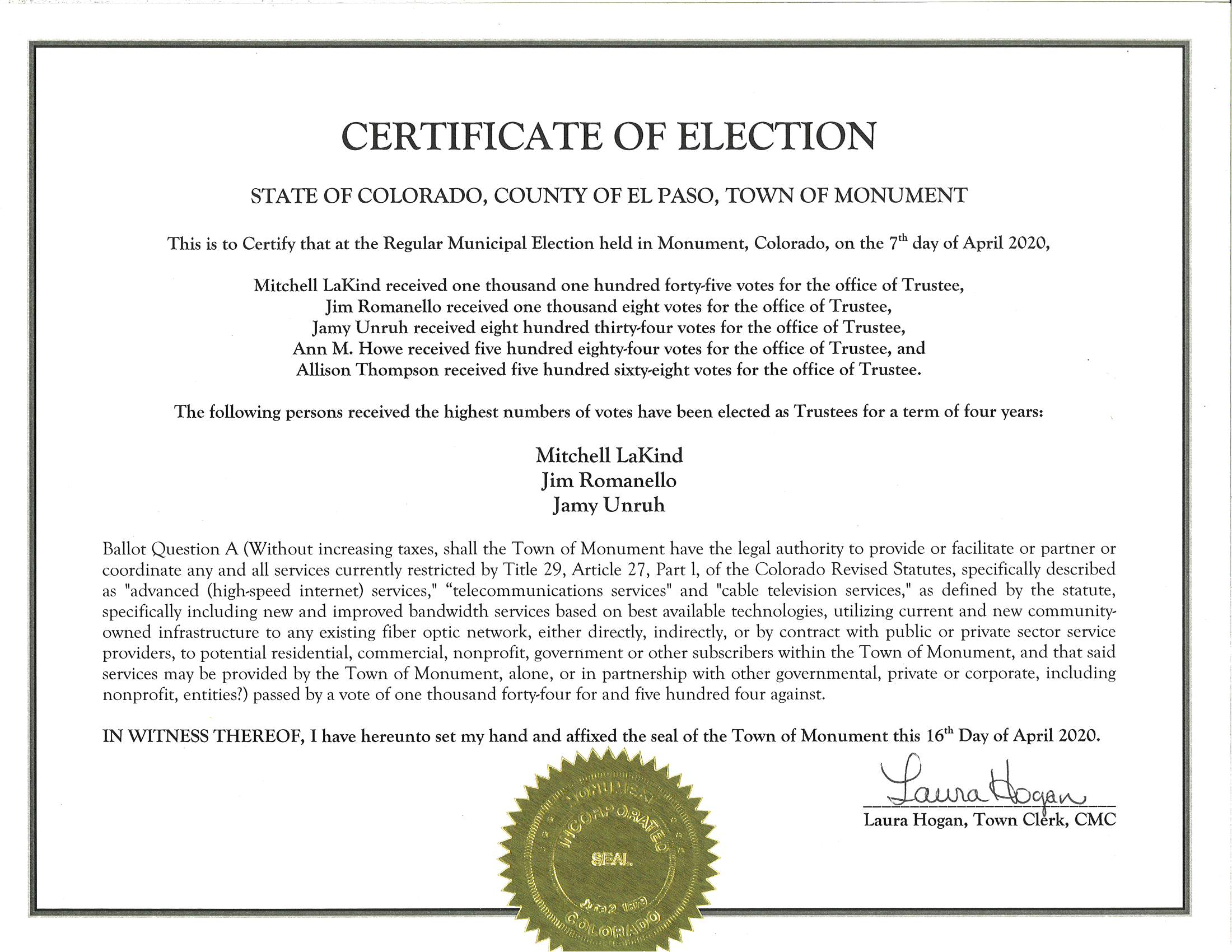 Certificate of Election 2020