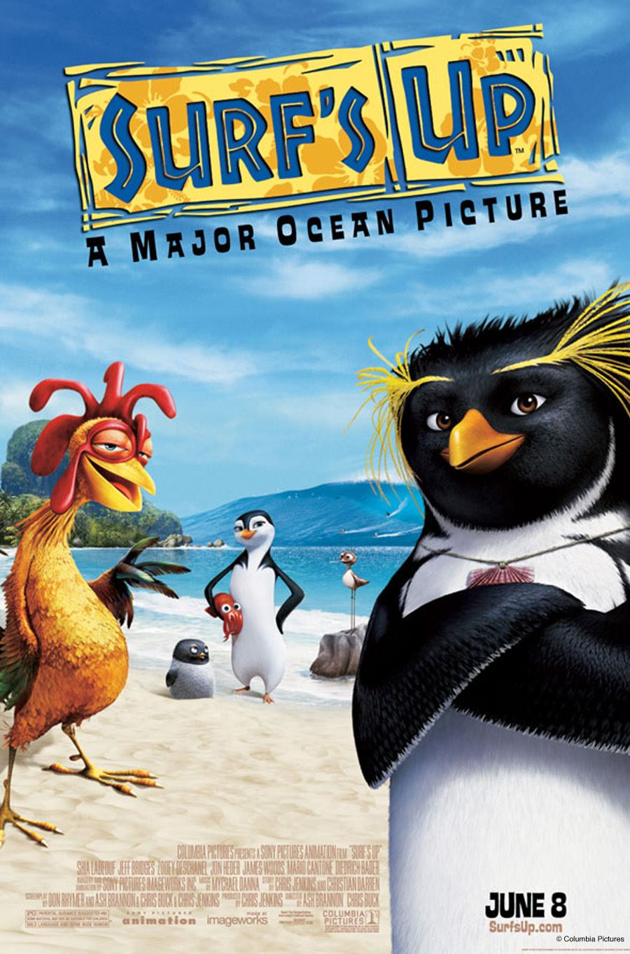 Surfs up - penguins and chicken on a beach