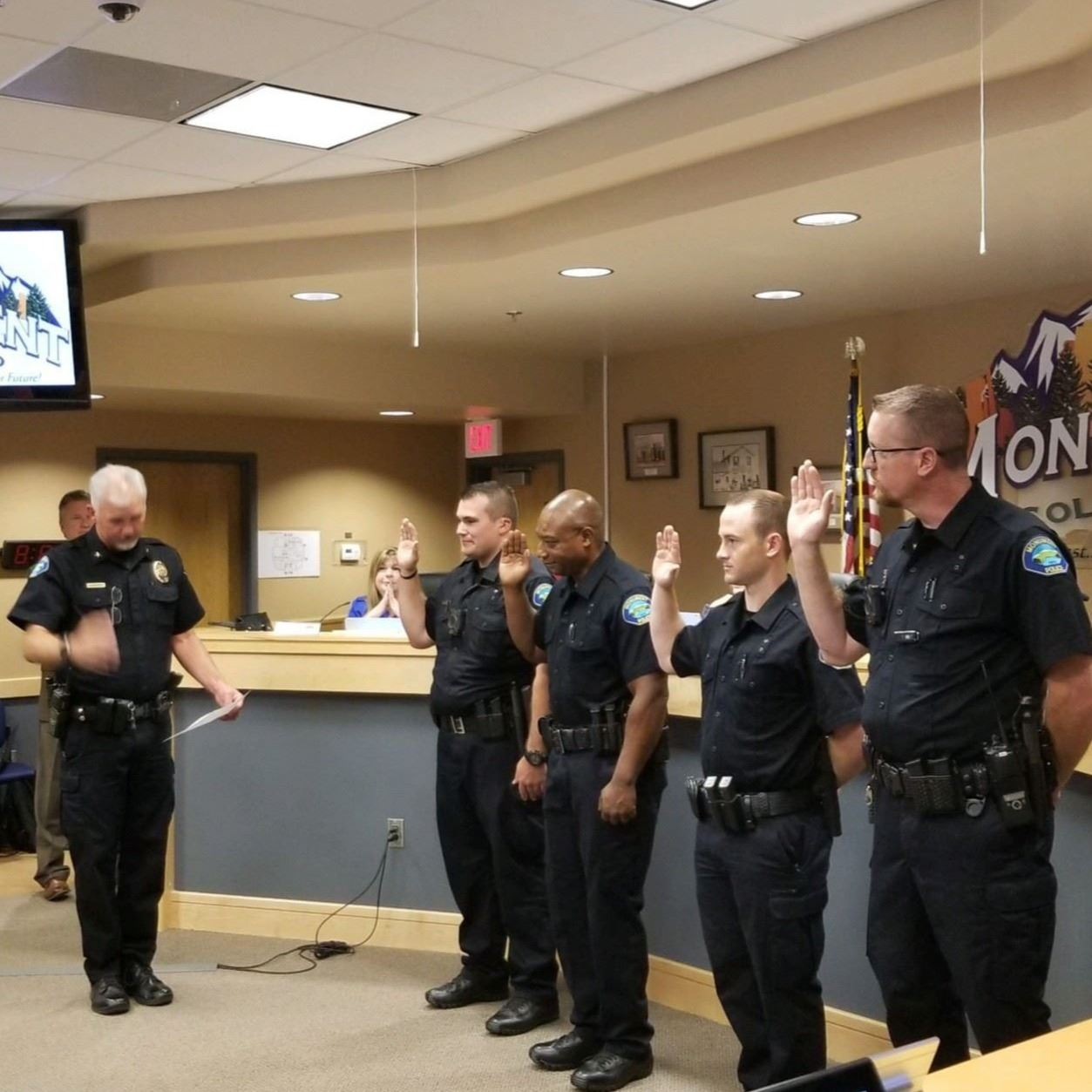 police officers standing in a room